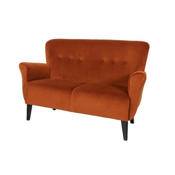 Brita kahden istuttava sohva, verhoiltu käsinoja.