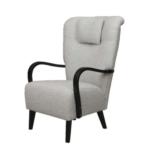 50-luvun harmaa nojatuoli puukäsinojilla, Brita tuoli.